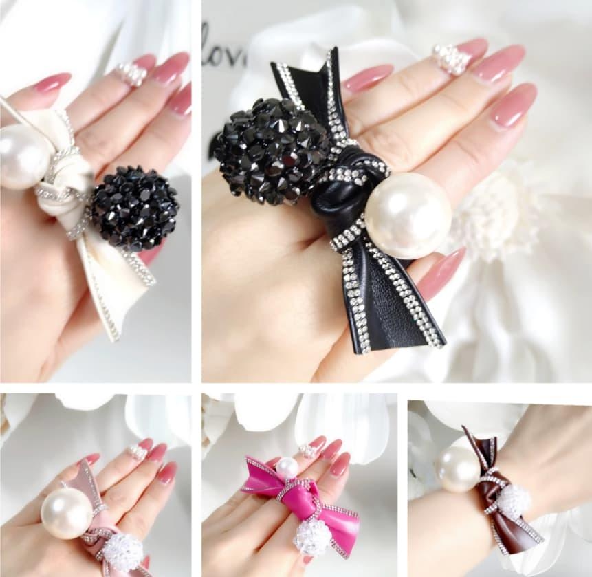 kikiオリジナルのエヴァダイヤを使用した手首につけたりヘアーアクセサリーにもなる『エヴァノット』のリボン全5色(ホワイト・ブラック・ダークピンク・ピンク・ブラウン)